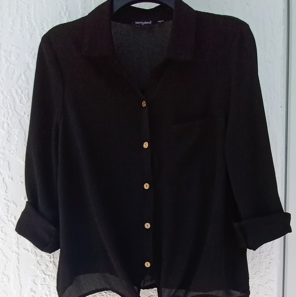 Black Shirt With Buttons Size L